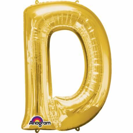 Mini ballon aluminium en forme de lettre pouvant être gonflé avec la paille livré avec Système de fermeture automatique Lettre D...