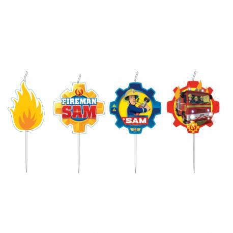 Lot 4 Bougies médaillons effigie Sam le Pompier pour créer une belle décoration d'anniversaire à thème à votre enfant.