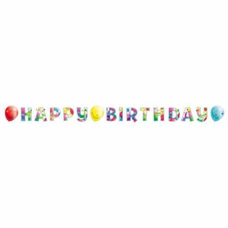Banderole Happy Birthday Ballons en carton pour la décoration de votre salle d'anniversaire.