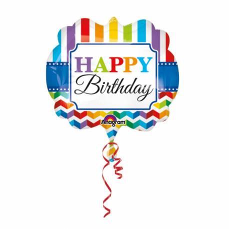 Ballon hélium Happy Birthday Color flash pouvant être gonflé avec ou sans hélium à l'aide d'une paille Dimensions : 63cm x 55cm Parfait...