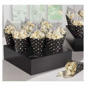 40 Mini cônes à pois noir or argent avec présentoirs