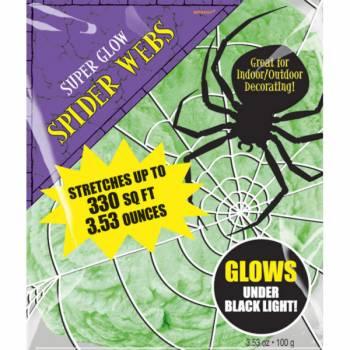 Toile d'araignée géante verte fluorescente