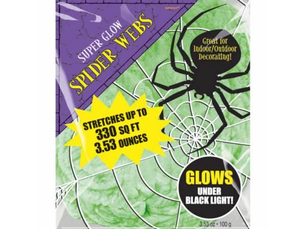 deco halloween toile d 39 araign e verte fluorescente. Black Bedroom Furniture Sets. Home Design Ideas