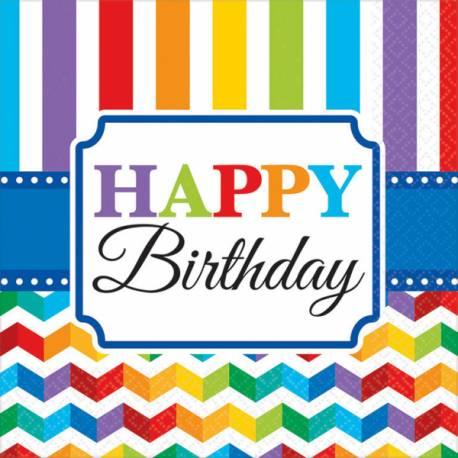 16 Serviettes en papier thème Happy Birthday Color flash Dimensions : 33 cm x 33 cm Parfait pour la deco de votre fête ou anniversaire.