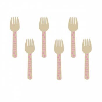 12 Minis fourchettes en bois pois rose