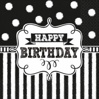 16 Serviettes Happy Birthday ardoise