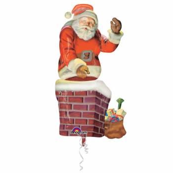 Ballon géant Hélium Père Noël Cheminée