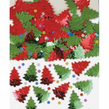 Paquet de confettis métallique en forme de sapins à parsemer sur vos tables de Noël 14 gr