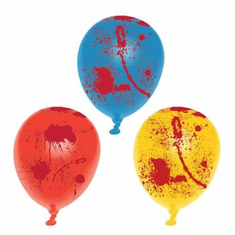 6 Ballons en latex multicolore avec tâche de sang pour la déco de votre fête d'Halloween.