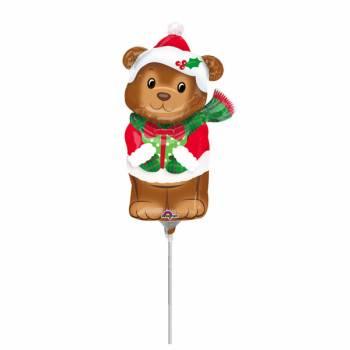 Mini ballon hélium Ourson de Noël