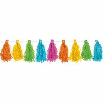 Guirlande pompons franges multicolore