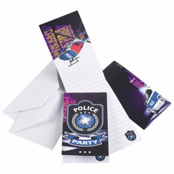 8 Cartes invitations Police