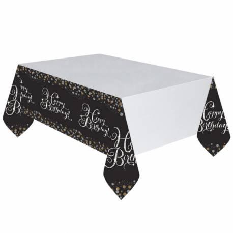Nappe en plastique Happy birthday noire or et argent Dimensions : 140 cm x 250 cm Parfait pour la deco de votre fête ou anniversaire.