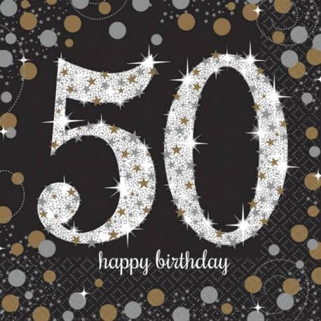 16Serviettes en papierthème Pétillant Or argent 50 ans Dimensions : 16.5cm x 16.5cm/ 33cm x 33cm Parfait pour la deco de votre fête ou...