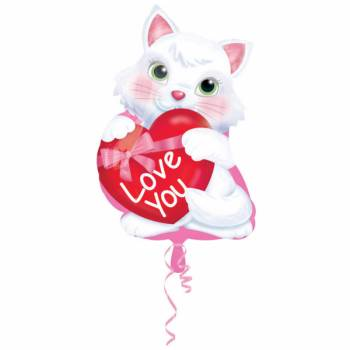 Ballon hélium chat love you