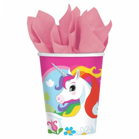 8 Gobelets thème Licorne Color pour la décoration anniversaire de votre enfant. 26 cl