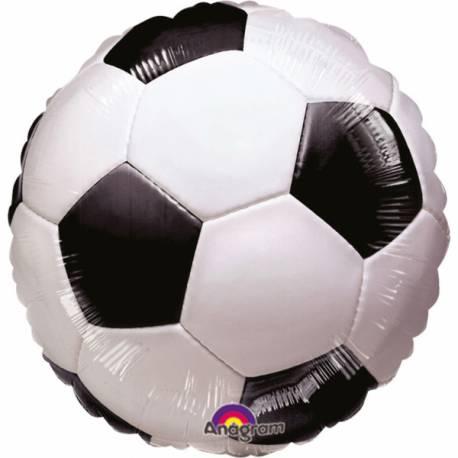 Ballon en forme de ballon de footVendu a l'unité. Ballon en aluminium pouvant étre gonflé avec ou sans hélium à l'aide d'une paille...