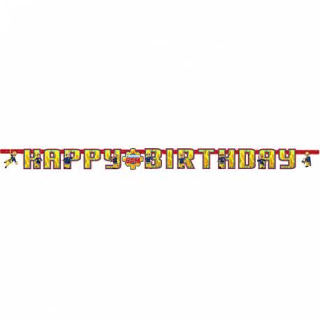 Banderole Happy Birthday en carton pour la décoration de table d'anniversaire sur le thème Sam le pompier Dimensions : 180 cm x 15 cm