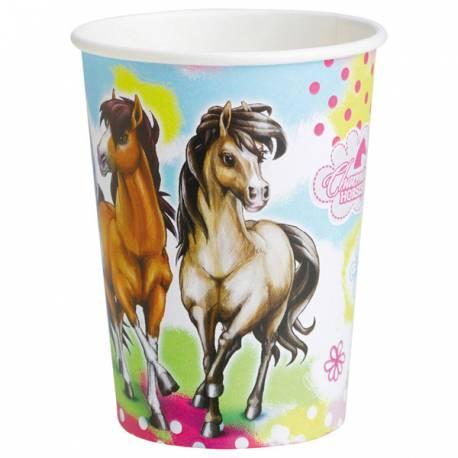 8 gobelets en carton pour anniversaire thème cheval 25 cl