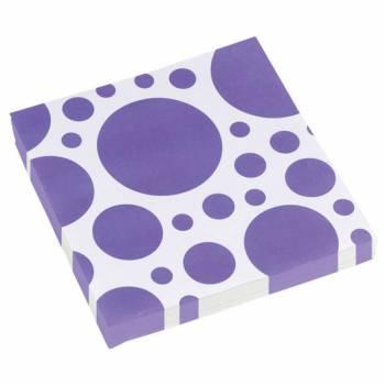 20 Serviettes papier pois violette