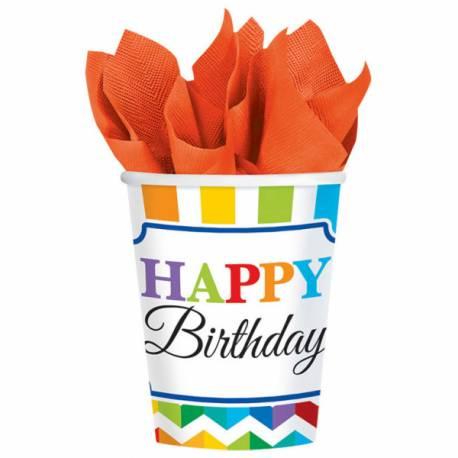 8 Gobelets en carton thème Happy Birthday Color flash Dimensions : 26 cl Parfait pour la deco de votre fête ou anniversaire.