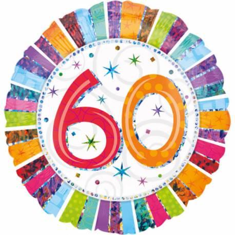 Ballon aluminium 60 ans à effet holographique pour la deco de salle de votre fête d'anniversaire. Ballon pouvant étre gonflé avec ou...