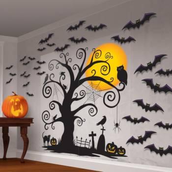 Kit déco murale arbre maléfique et chauves souris