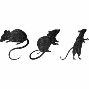 9 Stickers rats noirs pailleté