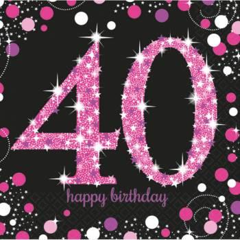 16 Serviettes Pétillante pink 40ans