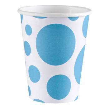 8 Gobelets carton pois turquoise