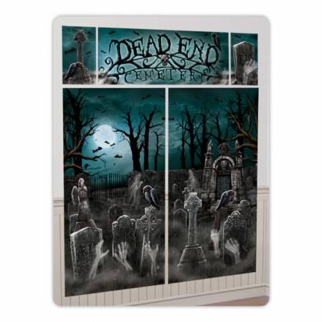 Créez une superbe ambiance glaciale pour votre soirée d'Halloween ! Kit décor mural cimetière en toile plastifiée souple...