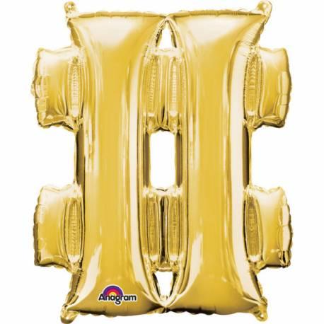 Mini ballon aluminium en forme dehashtag pouvant être gonflé avec la paille livré avec Couleur or Dimensions : 33 cm x 27 cm