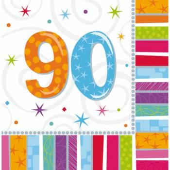 16 Serviettes 90 ans Colorstars