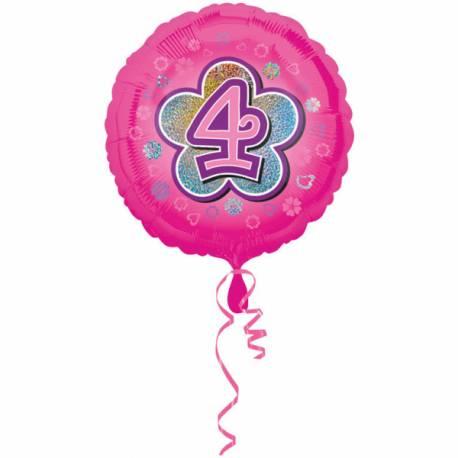 Ballon rose 4 ans pour anniversaire fille Ballon en aluminium pouvant étre gonflé avec ou sans hélium à l'aide d'une...