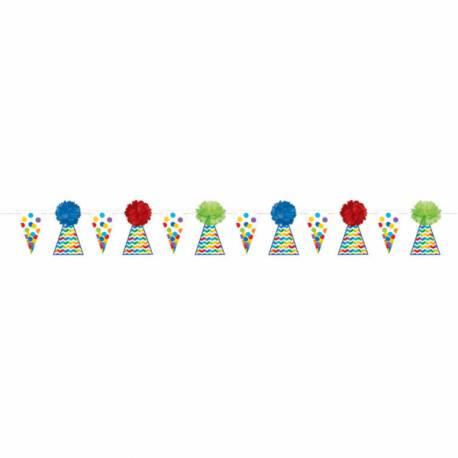 Guirlande de fanions avec pompoms Happy Birthday Color flash Dimensions : 3.65 Mètres Parfait pour la deco de votre fête ou anniversaire.