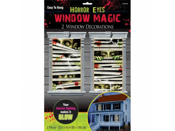 deco halloween d cor de fen tre yeux de zombies. Black Bedroom Furniture Sets. Home Design Ideas