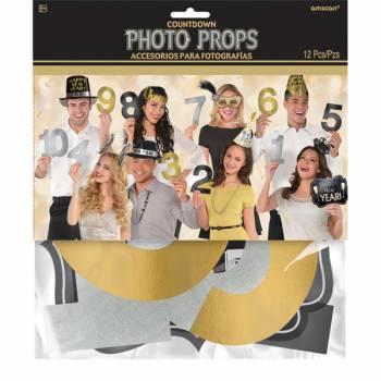 12 Accesoires photobooth jour de l'an compte à rebours