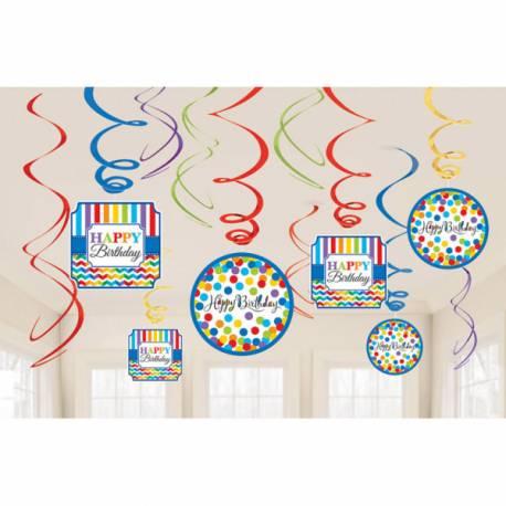 Assortiment de 12 suspensions pour votre lieu de fête thème Happy Birthday Color flash Contient: 6 suspensions avec décors Happy...