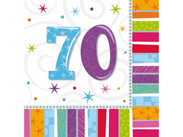 deco anniversaire serviettes 70 ans colorstars. Black Bedroom Furniture Sets. Home Design Ideas