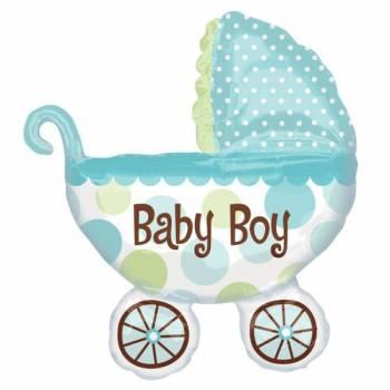 Ballon baby boy poussette bleue