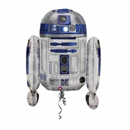 Ballon en aluminium géant en forme de R2D2 de Star Wars Peut être gonflé avec ou sans hélium (à l'aide d'une paille) Dimensions : 66 cm...