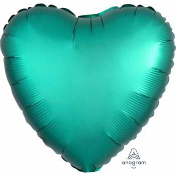 Ballon hélium satin luxe émeraude coeur