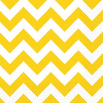 20 Serviettes papier chevrons jaune