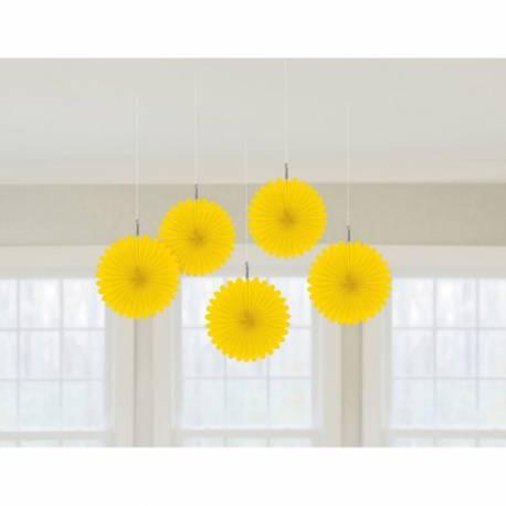 5 suspensions éventail en papierde couleur jaune idéal pour la décoration de vos salles d'anniversaire, mariage, baptème et Candy...