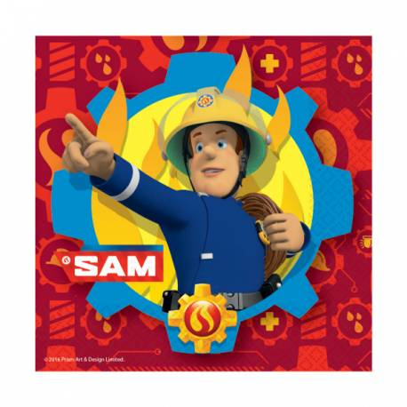 20 Serviettes Sam le pompier en papier pour la deco de table anniversaire de votre enfant. Dimensions : 33 cm x 33 cm