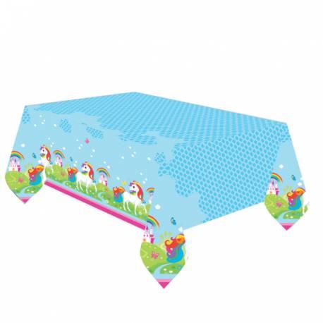 Nappe thème Licorne Color pour la décoration anniversaire de votre enfant.Dimensions : 180 cm x 120 cm