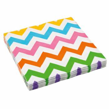20 Serviettes papier chevrons multicolore