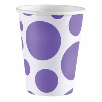 8 Gobelets carton pois violet