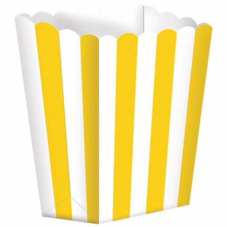 Paquet de 5 boîtes à Pop Corn avec rayures jaunes pour vos candy bars ! Dimensions : 13.5 cm x 9.5 cm