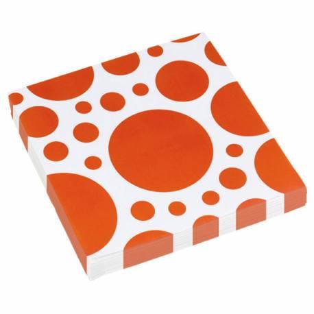 20 Serviettes en papier à pois orange Dimensions : 33 cm x 33 cm